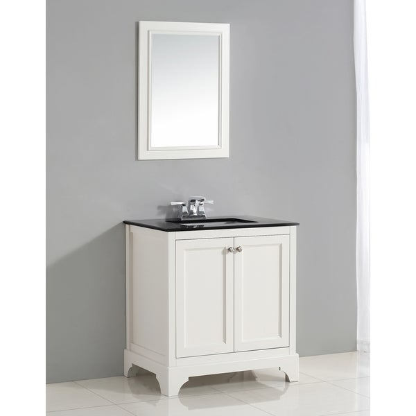 WYNDENHALL Carlyle 30 Inch White Bath Vanity With Black Granite Top Free Sh