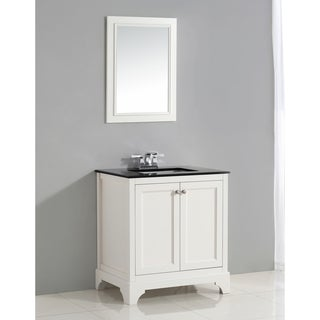 WYNDENHALL Carlyle 30-inch White Bath Vanity with Black Granite Top