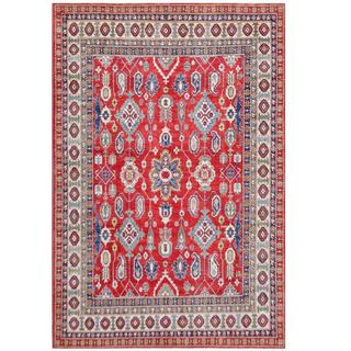 Herat Oriental Afghan Hand-knotted Tribal Kazak Red/ Ivory Wool Rug (7'2 x 10'8)