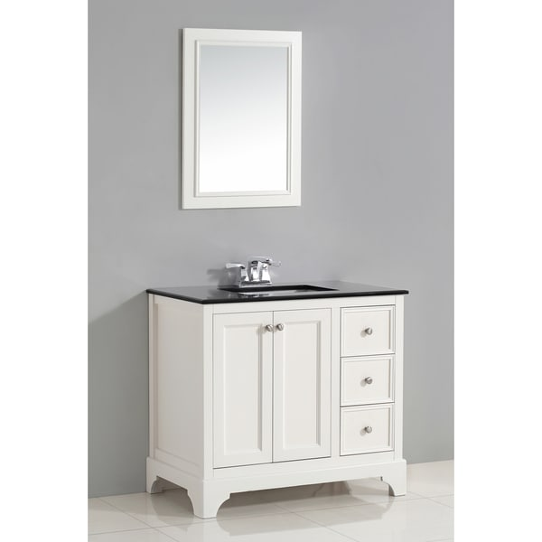 Shop wyndenhall carlyle 36 inch white bath vanity with black granite top free shipping today for White bathroom vanity 36 inch