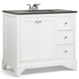 WYNDENHALL Carlyle White 2-door 36-inch Bath Vanity Set with Black Granite Top
