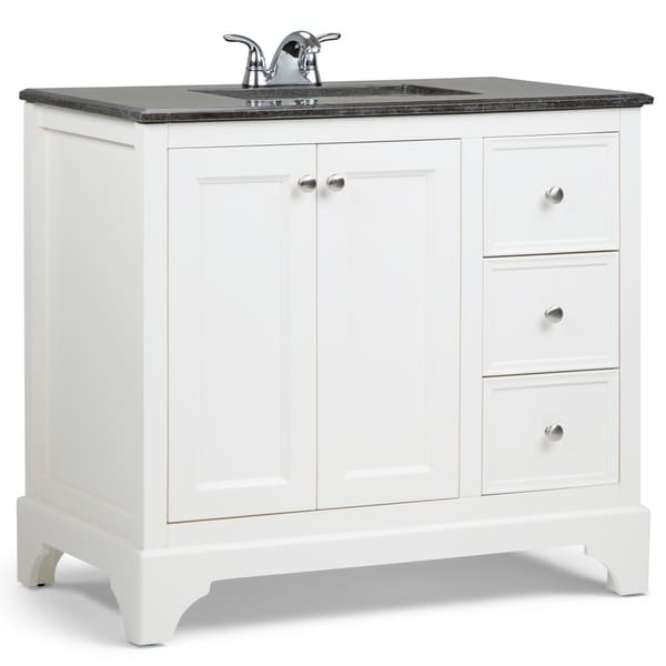WYNDENHALL Carlyle 36 inch Transitional Bath Vanity in Soft White with Black Granite Top