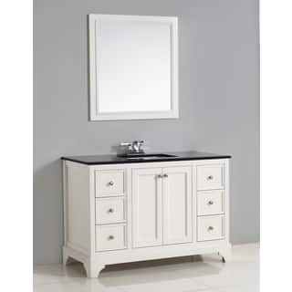 WYNDENHALL Carlyle 48-inch White Bath Vanity with Black Granite Top|https://ak1.ostkcdn.com/images/products/9960024/P17112817.jpg?impolicy=medium