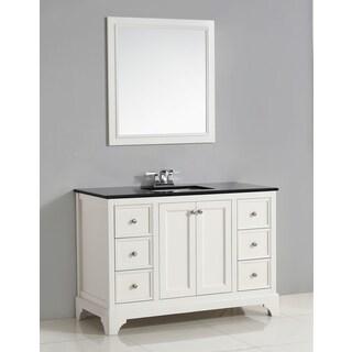 WYNDENHALL Carlyle 48-inch White Bath Vanity with Black Granite Top