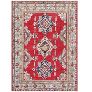 Herat Oriental Afghan Hand-knotted Tribal Kazak Red/ Ivory Wool Rug (7'5 x 10'4)