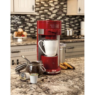 Hamilton Beach Red Programmable Single-serve Coffee Maker with 10 oz. Water Reservoir