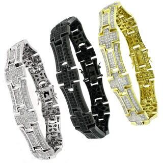 Sterling Silver Men'S Cubic Zirconia Bracelet