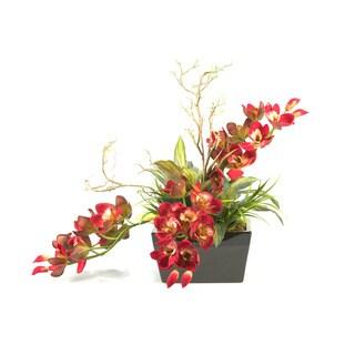 D&W Silks Cymbidium Orchids in Rectangle Planter