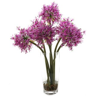 D&W Silks Purple Starfire Alliums in Hexagon Glass Vase