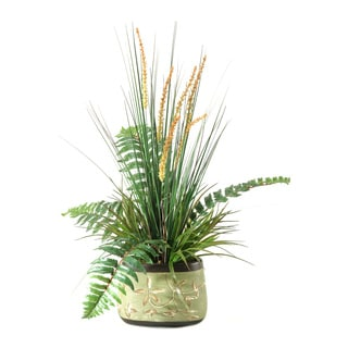 D&W Silks Onion Grass and Fern in Oblong Ceramic Planter