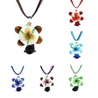 Bleek2Sheek Glass 'Turtle and Flowers' Necklace