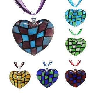 Bleek2Sheek Murano-inspired Glass foil Checkered Heart Necklace