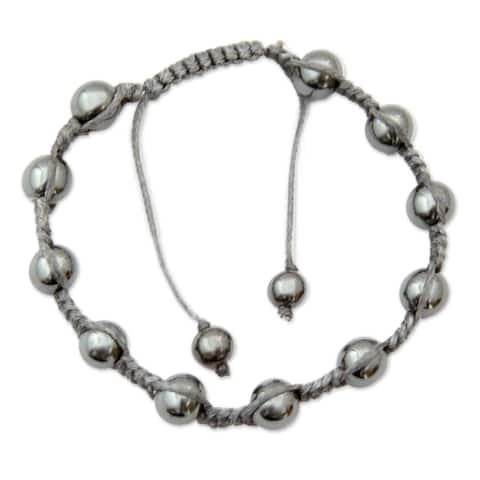 Handmade Peace in the Night Cotton Hematite Bracelet (India)
