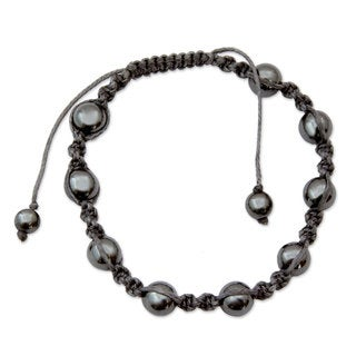 Handmade Cotton 'Quiet Peace' Hematite Bracelet (India)