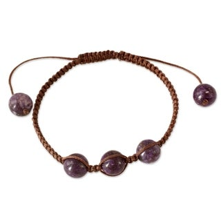 Handmade Waxed Cotton 'Transformative Tranquility' Charoite Bracelet (India)