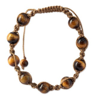 Handcrafted Cotton 'Blissful Insight' Tiger's Eye Bracelet (India)