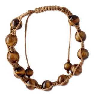 Handmade Cotton 'Oneness' Tiger's Eye Bracelet (India)