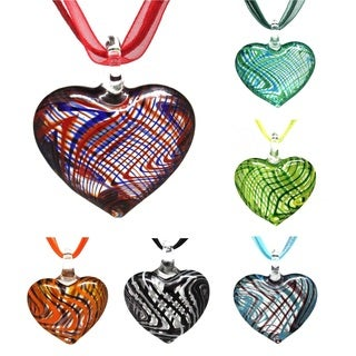 Bleek2Sheek Murano-inspired Glass Criss-Cross Heart Necklace