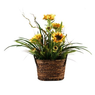 D&W Silks Sunflowers with Mixed Grasses in Dark Brown Oval Basket with Handles
