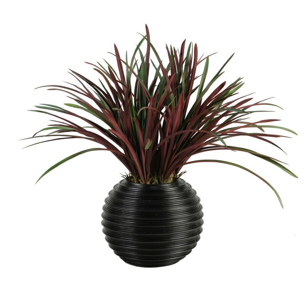 D&W Silks Burgundy / Green Areca Grass in Black Contemporary Ball Planter