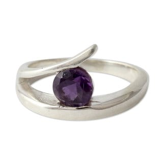 Handcrafted Sterling Silver 'Circle of Love' Amethyst Ring (India)