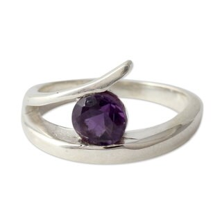 Handmade Sterling Silver 'Dazzling Love' Amethyst Ring (India)