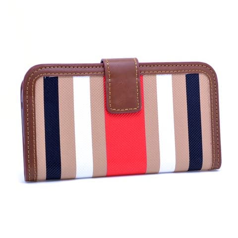 Dasein Khaki/ Red Striped Wallet Phone Case for iPhone and Samsung Phones
