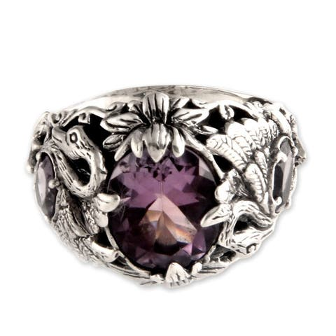 NOVICA Dancing Swan Fancy 3.9 TCW of Faceted Amethysts Set in Unusual Design 925 Sterling Silver Women's Cocktail Ring
