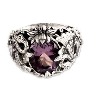 Dancing Swan Fancy 3.9 TCW of Faceted Amethysts Set in Unusual Design 925 Sterling Silver Womens Cocktail Ring (Indonesia)