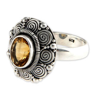 Sterling Silver 'Balinese Sunflower' Citrine Ring (Indonesia)