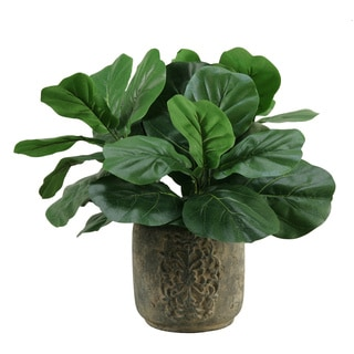 D&W Silks Fiddle Leaf Fig in Stone Planter