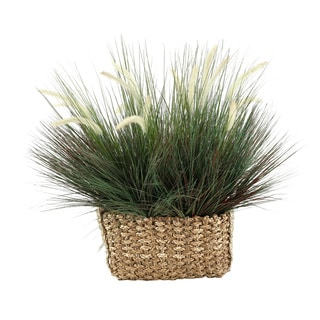 D&W Silks Onion Grass with Dogstail in Rectangle Basket