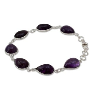 Sterling Silver 'Blissful Beauty' Amethyst Bracelet (India)