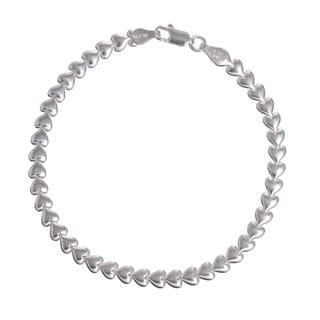 Sterling Silver Italian Heart Stampato Bracelet