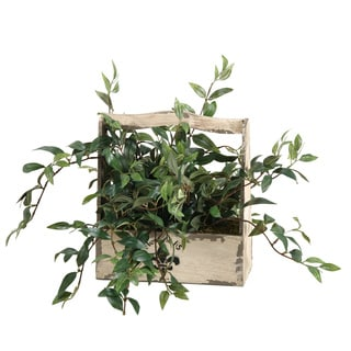 D&W Silks Japanese Hanging Bamboo in Wooden Fleur Di Les Planter Box