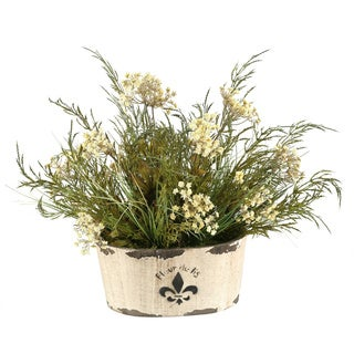 D&W Silks Queen Annes Lace and Grass Mixed in Oval Fleur De Lis Planter
