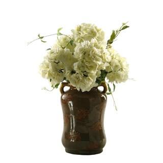 D&W Silks Cream Hydrangeas in Ceramic Vase