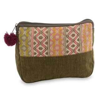 Handcrafted Cotton 'Rose Whisper' Cosmetic Case (Guatemala)