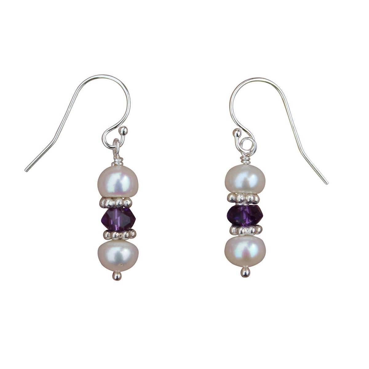 Beadwork by Julie Handmade Pearl, Amethyst and Sterling S...