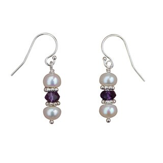 Handmade Pearl, Amethyst and Sterling Silver Earrings (5mm)