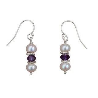 Handmade Pearl, Amethyst and Sterling Silver Earrings (5mm)