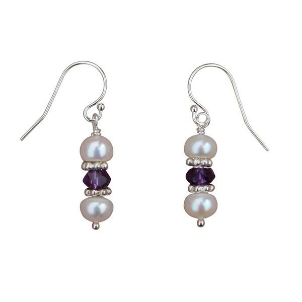 Handmade Pearl Amethyst And Sterling Silver Earrings 5mm
