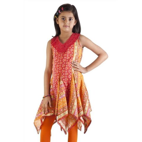Handmade MB Girls Orange and Red Pleated Kurta Tunic (India)