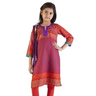 Handmade MB Girls Orange and Blue Kurta Tunic, Churidar (Pants) and Dupatta (Scarf) Set (India)