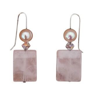 Rose Quartz and Fresh Water Pearl Earrings