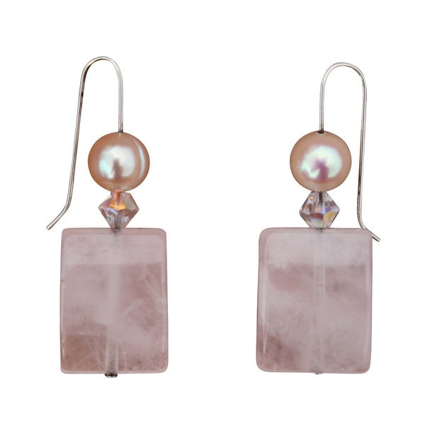 Rose Quartz and Fresh Water Pearl Earrings. Opens flyout.