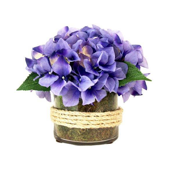 Purple Hydrangea Silk Flowers in Jute Deco Glass Vase