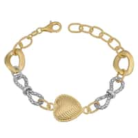 Fremada Gold over Sterling Silver Heart and Bow Bracelet