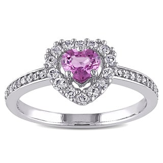 Miadora 14k White Gold Pink and White Sapphire 1/10ct TDW Diamond Heart Ring (G-H, I1-I2)