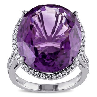 Miadora Signature Collection 14k White Gold Amethyst 3/5ct TDW Diamond Cocktail Ring (G-H, SI1-SI2)
